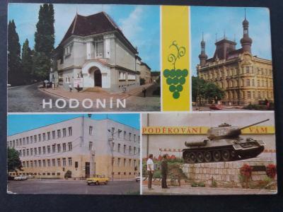 HODONÍN - škola - auto WARTBURG - památník osvobozeni - TANK - VF z29