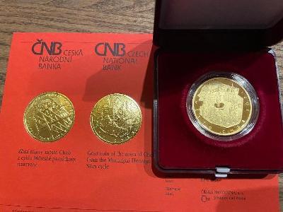 Zlatá mince 5000Kč město Cheb  2021 PROOF.