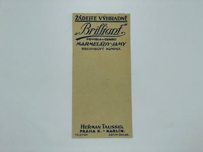 Účtenka reklama Brilliant povidla marmelády jamy Praha Heřman Taussig