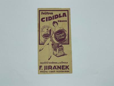 Účtenka reklama F. Jiránek cididlo Triumph créme Praha leštidlo