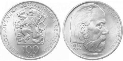 stříbrná pamětní mince 100 Kčs 1974 - Bedřich Smetana - TOP!