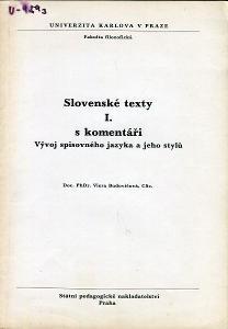 Slovenské texty s komentáři I. (slovenština)