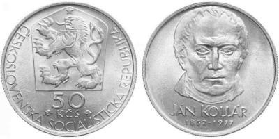 💥 stříbrná pamětní mince 50 Kčs 1977 - Ján Kollár - TOP !