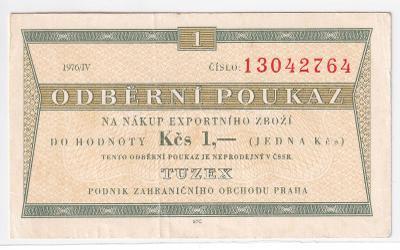 Tuzexový bon 1 Kčs 1976/IV