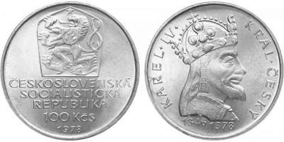 💥 stříbrná pamětní mince 100 Kčs 1978 - Karel IV. - TOP !
