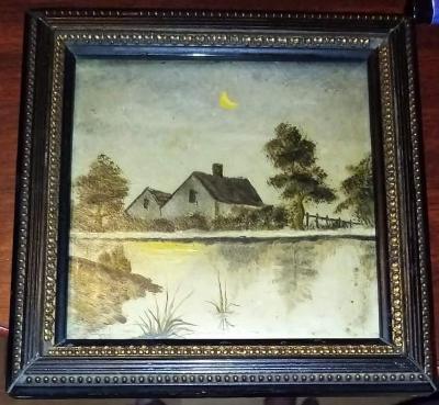 Malý malovaný obrázek dřevě  signace umělce 15na15,5