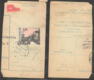Balíková poštovní průvodka 1970, razítko ADAMOV