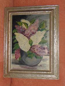 Starý obraz v dřevěném rámu
