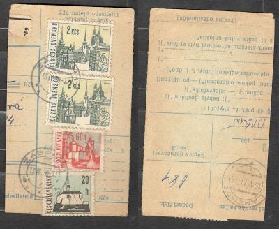 Balíková poštovní průvodka 1970, razítko ZÁBŘEH