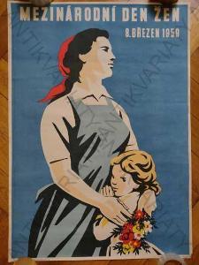 Mezinárodní den žen 1959 Josef Paukert plakát A1
