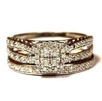 14 kt luxusní zlatý zásnubní a snubní prsten s brilianty 0.50 kt