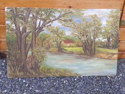 Malba krajiny na dřevěnou desku, rozměry viz.foto