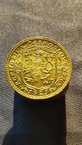 Zlatá mince Svatý Václav Jednodukát Československý 1923 RL