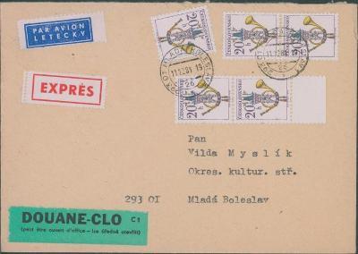 10B2598 Letecký expres dopis úředně otevřeno Mladá Boleslav