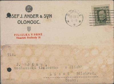 10B2681 J.Ander- Olomouc/ J. Jína tkalcovna, Lázně Bělohrad- PERFÍN R!