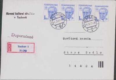 10B2682 Tachov/Staré Sedlo- frankováno výstřižky z celinové obálky RR!