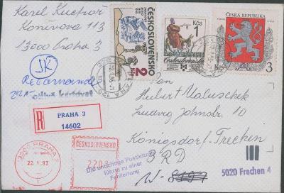 10B2683 Frankováno - Česká rep. + ČSSR + výplatní stroj/ Konigsdorf