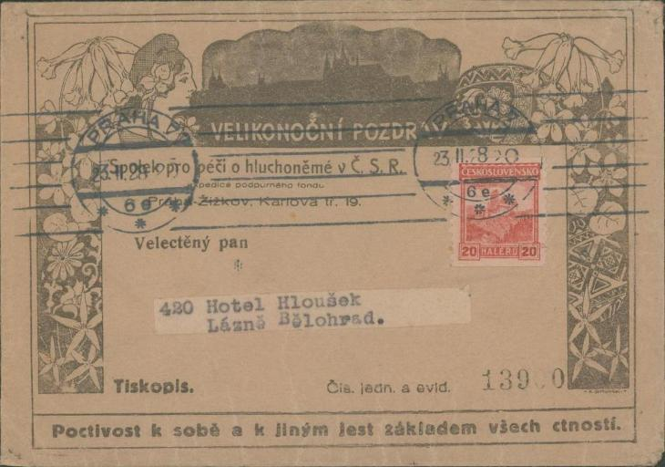 10B2685 Péče o hluchoněmé/Hotel Hloušek Lázně Bělohrad, automatová zn. - Filatelie
