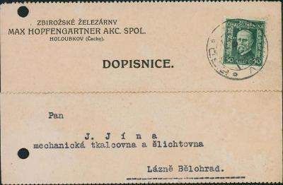 10B2305 Firemní lístek železárny Zbiroh - Lázně Bělohrad, PERFÍN