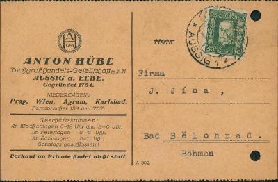 10B2306 Lístek Ústí nad Labem - Lázně Bělohrad, děrováno, PERFÍN