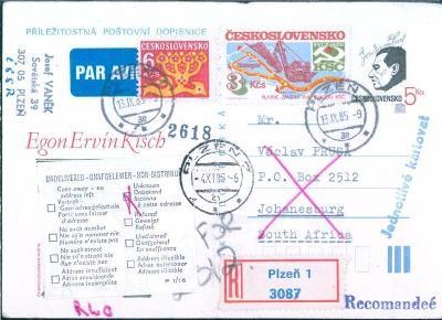 10L25 Letecky- Plzeň/ Johannesburg, mimořádný dopis