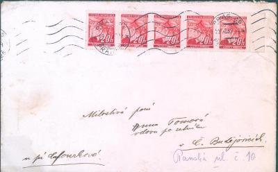 12B143 Dopis Praha - České Budějovice, pětipáska 20 hal