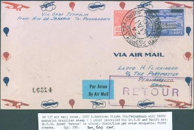 21B15 Zeppelinový dopis Rio de Janerio - Pernambuco, vráceno zpět RR