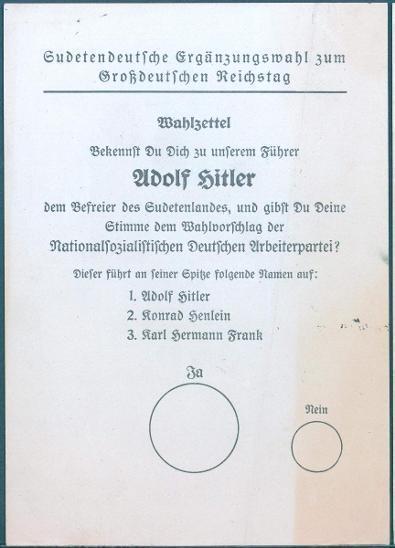 13D64 Volební lístky- REICHSTAG/ HITLER, FRANK, HENLEIN - sběratelský