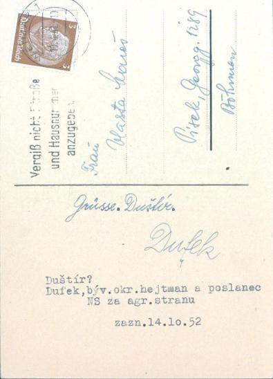12D1  Koncentrační tábor Weimar - poslanec NS Dufek, Písek, vč.podpisu