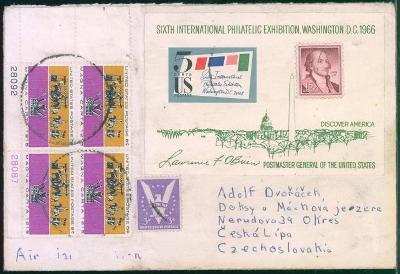 20B88 Letecký dopis - USA/ Doksy ČESKÁ LÍPA,  aršík- dekorativní