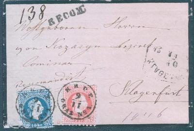13B64  Šlechtický úmrtní R-dopis, Gratz- Klagenfurt, mimořádné !!!!