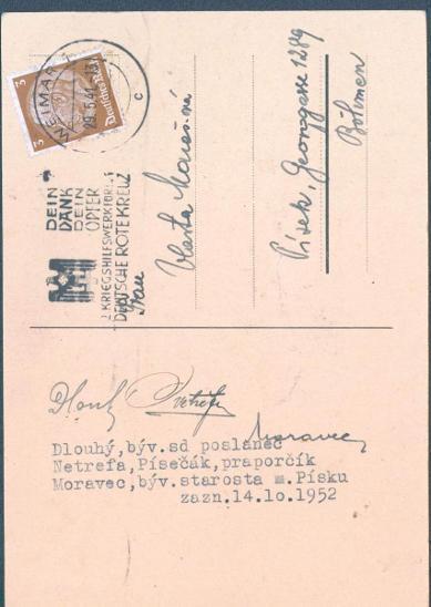 12D2  Koncentr. tábor Weimar - poslanec NS Dlouhý, Písek,  vč.podpisu