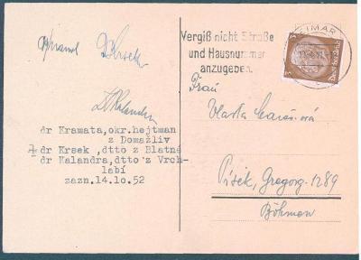 12D5 Koncentr. tábor Weimar-Kramata,Krsek, Kalandra, Písek, vč.podpisu