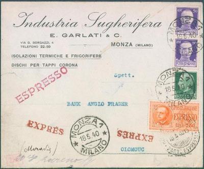 17B156 Expres dopis Monza / Milano do Olomouce, německá cenzura