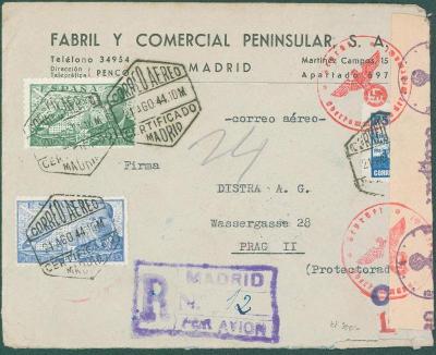 17B175 R dopis Madrid do Prahy na DISTRA A.G., německá cenzura
