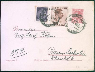17B405 Rumunský dopis Bukurešť / Bucuresti - Plzeň