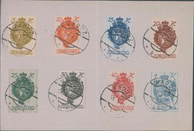 17B904 List - stříhané známky Lichtenštejnsko, razítko Vaduz, vzácné R