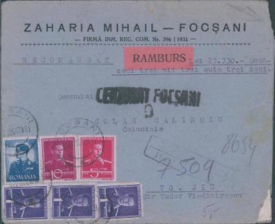 17B953 Peněžní dopis do Târgu Jiu Rumunsko, mimořádná frankatura