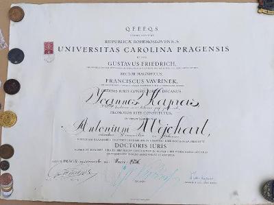 1a52 Universita Karlova/ Domažlice dekret- JUDr. Antonín Wejchart 1936
