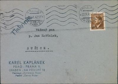 12B796 Dopis K. Kaplánek Praha - Sušice, strojové razítko