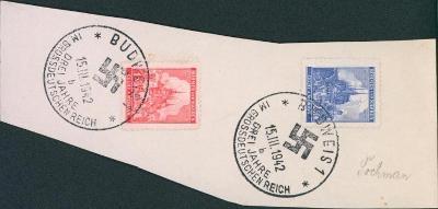12B808 Výstřižek dopisu - příležit. razítko 3. výročí Deutsches Reich