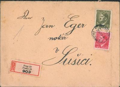 12B825 Dopis Praha - notář J. Eger Sušice, barevná frankatura