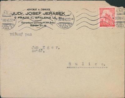 12B829 Dopis JUDr. Jeřábek Praha - notář Eger Sušice