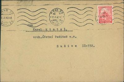 12B830 Dopis Praha - K. Kintzl Sušice, strojové razítko