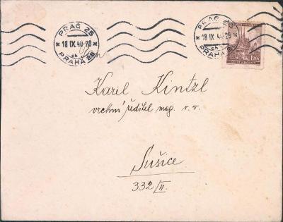12B835 Dopis Praha - K. Kintzl Sušice, strojové razítko