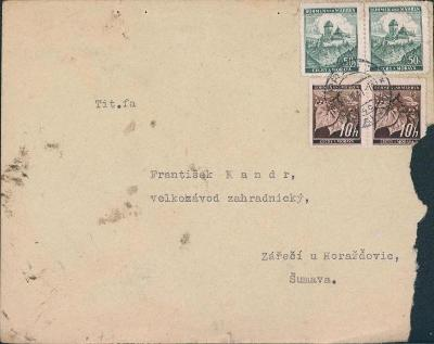 12B839-40 Dopis Vacov , Praha - Horažďovice  2ks