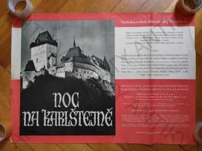 Noc na Karlštejně reklamní plakát A1 divadlo