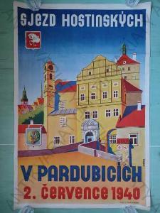 Sjezd hostinských V Pardubicích 1940 plakát A1