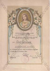 Konvolut diplomů Mariánská družina 1929 - 1944