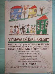 Výstava dětské kresby 1930 plakát A1
